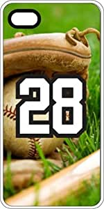 Baseball Sports Fan Player Number 28 White Plastic Decorative iPhone 6 Case