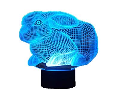 3D Lights Optical Illusions Hologram Night Light for Easter Gift | Led Lampeez for Kids/Girls | Premium Present Idea Easter Rabbit Bunny Design | Remote + Free USB Adapter and Longer Cord