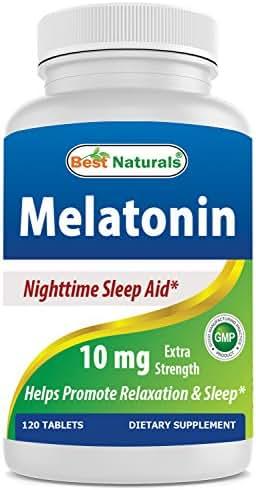 Best Naturals Melatonin 10mg 120 Tablets - Drug-Free Nighttime Sleep Aid - Melatonin for Sleep and Relaxation