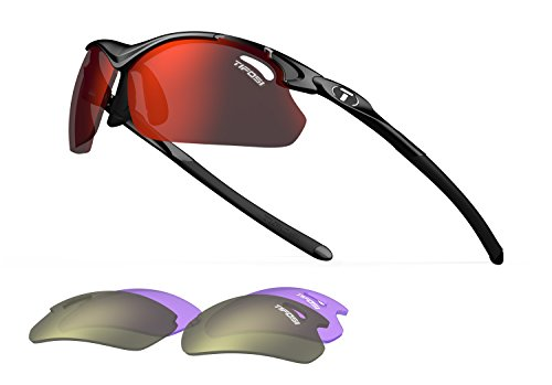 Sunglasses Outdoor Adult (Tifosi Tyrant 2.0 Wrap, Gloss Black 68 mm)