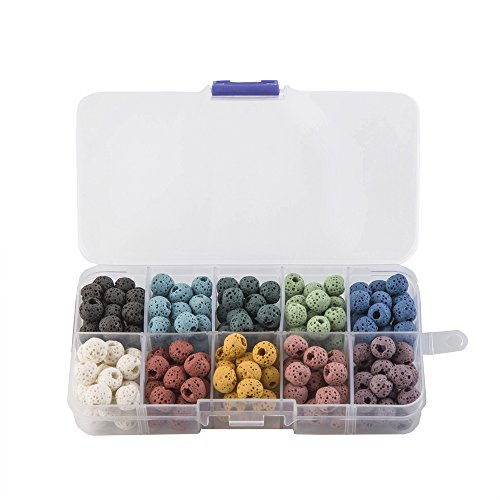 Lava Beads Rock Stone for Jewelry Making Findings Accessories,8mm 200pcs (Mix Color)