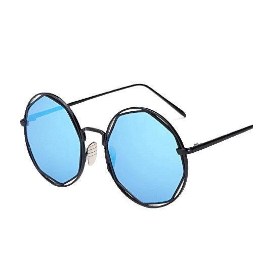 redonda sol de montura Gafas Azul Shop de Chip Black sol de gafas redondas sol de sol y 6 Enmarcado de gafas metálicas elegantes Gafas OWqAf