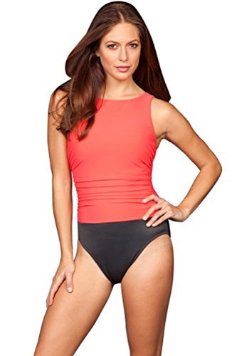 Miraclesuit Coral Colorblock D-Cup Regatta Underwire High Neck Swimsuit Size 14D by Miraclesuit