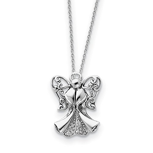 925 Sterling Silver Cubic Zirconia Cz Angel Of Strength 18 Inch Chain Necklace Pendant Charm Religious Inspirational Fine Jewelry Gifts For Women For -