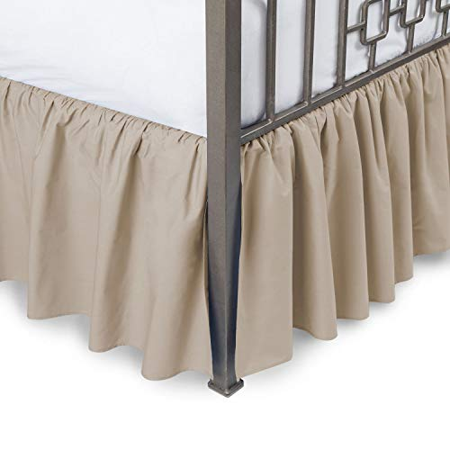 (Ruffled Bed Skirt with Split Corners Three Side Coverage, Easy fit, Made Brushed Microfiber Twin 14 inches - Camel)
