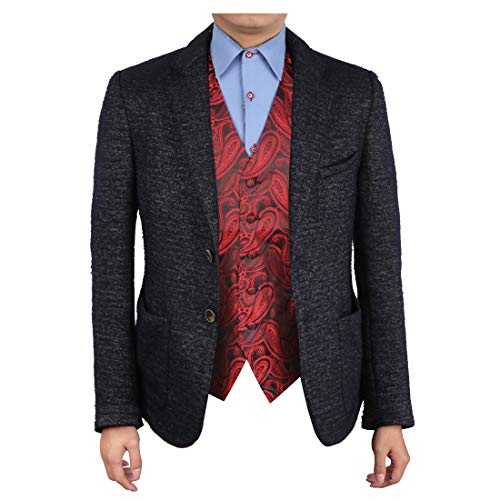 Epoint EGC1B07C-XL Red Black Patterned Discount Presents Waistcoat Woven Microfiber Shopstyle Mens Vests X-Large Vest