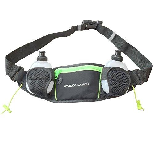 Price comparison product image VeloChampion 12oz Hydration Running/Triathlon Belt - with zip pocket and 2 x 170ml Bottles