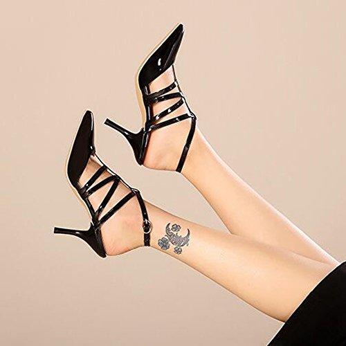 XINRD - Zapatos con correa de tobillo mujer negro