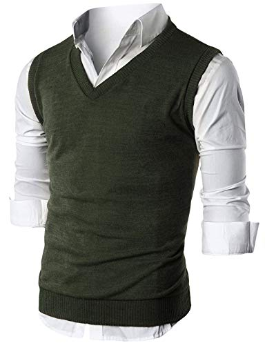 Ohoo Mens Slim Fit Casual V-Neck Knit Vest/DCV010-KHAKI-L