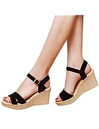 Women's Ankle Strap Wedge Comfort Sandal Open Toe Platform Heeled Sandals 7.5CM Casual Shoes
