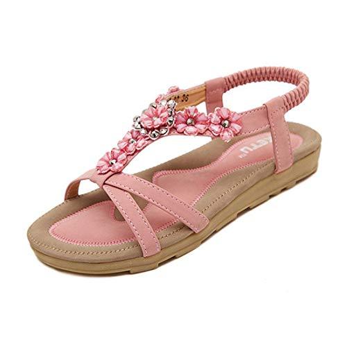 SHIBEVER Summer Flat Gladiator Sandals for Women Comfortable Casual Beach Shoes Platform Bohemian Beaded Flip Flops Sandals Pink-2 8.5 - Sandals Pink Beaded