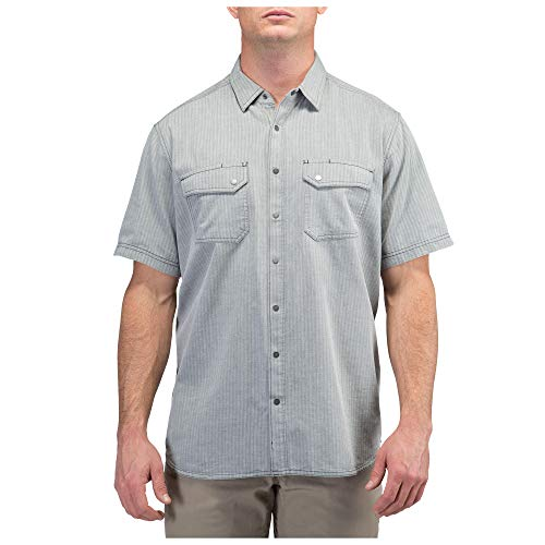 5.11 Tactical Men's Cotton Fabric Herringbone Short Sleeve Shirt, Small, Charcoal, Style 71375
