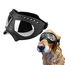 Ywhomal Large Breed Dog Goggles and Sunglasses for Big Dogs UV Protective Soft Eyewear Snowproof Windproof Car Outdoor Driving with Elastic Adjustable Strap (Black, FoxMask Goggles)