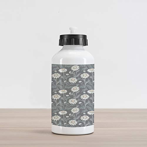 Ambesonne Floral Aluminum Water Bottle, Cottage Daisy Petals Field Summer Gardening Theme Chamomile Flourish, Aluminum Insulated Spill-Proof Travel Sports Water Bottle, Grey Coconut Sage Green