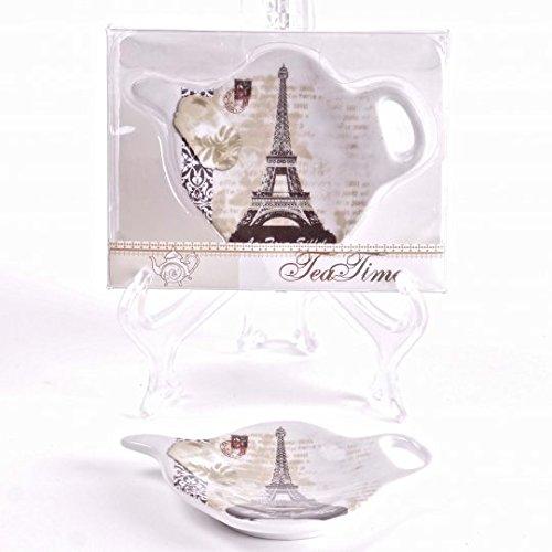 Jcook Home Decor Porcelain Tea Bag Holders in Gift Box - Paris - Set of 2