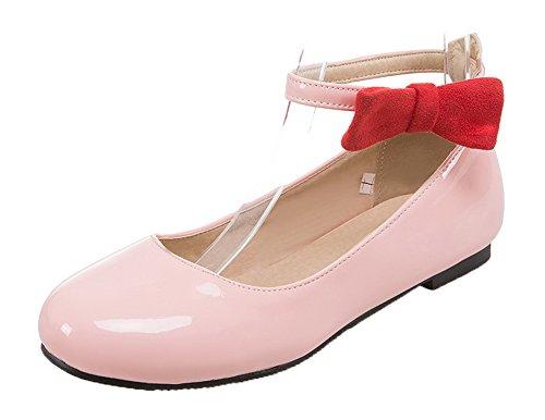 AalarDom Femme Boucle Rond Non Talon Verni Couleur Unie Chaussures Légeres Rose kHDctEYb