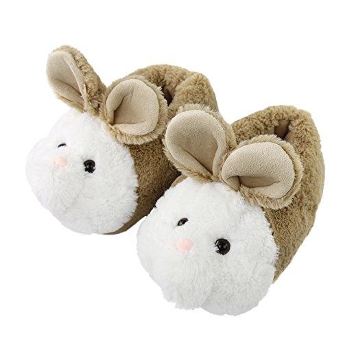 Komyufa Women Memory Foam House Slippers Cozy Animal Home Slipper Indoor Outdoor (S/ 5-6.5 B(M) US, Light Brown Bunny) (Bunny Light Womens)