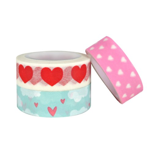 ALLYDREW Made with Love Japanese Masking Tape Washi Tapes Valentine Hearts Washi Tape Set Rolls (set of 3)
