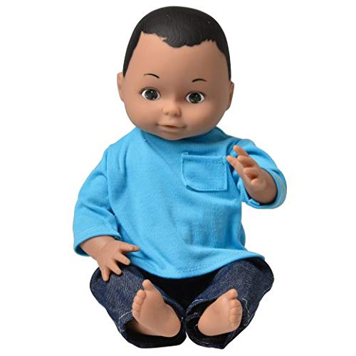 "Constructive Playthings 13"" Multi-Ethnic Native American Boy Doll with Moveable Head, Arms and Legs, Safe Painted Eyes and Durable Washable Clothes for Ages 19 Months and Up"