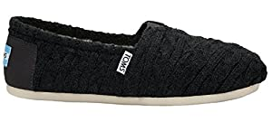 Toms Classics Black Cable Knit Shearling 10008923 Womens 11
