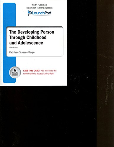 The Developing Person Through Childhood and Adolescence 9th edition 6 month access code