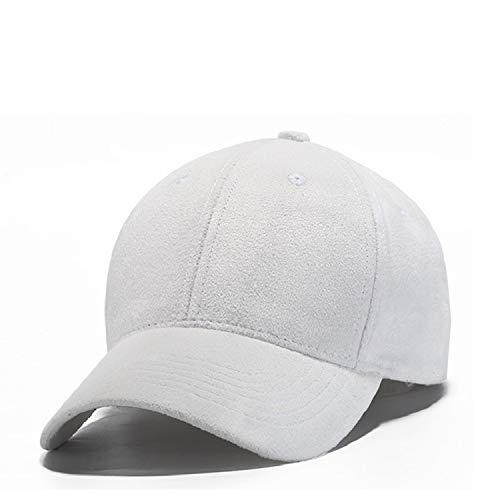 The Faux Suede Baseball Cap Unisex Outdoor Hat Solid Caps Hip Hop Hats for Men & Women,White