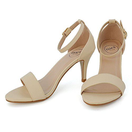 Sandalo Tacco Peep Carne Donna Toe Caviglia Sintetica Sintetico Alla Pelle Glam Stiletto Essex Cinturino Basso xRPBBI