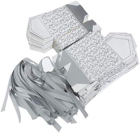 50 Cajas de Caramelos de Plata Dorada para decoración de Bodas y Fiestas de tiansiangjjeu, Plata: Amazon.es: Jardín