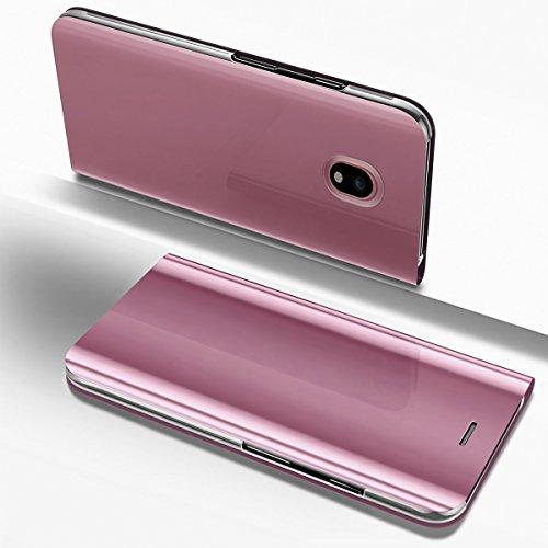 PHEZEN Galaxy J7 Pro 2017 Case, Luxury Mirror Makeup Case Plating PU Leather Flip Folio Wallet Case [Kickstand] Magnetic Closure Full Cover Case for Samsung Galaxy J7 Pro 2017 J730 (Rose Gold) by PHEZEN