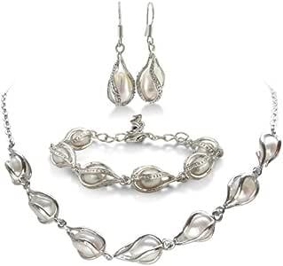 SuperJeweler Unusual Freshwater Pearl Set, Necklace, Bracelet and Earrings