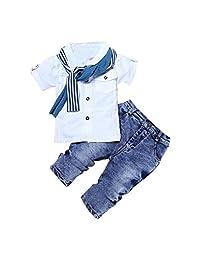 TONSEE 1 Set Kids Baby Boys Short Sleeve T-Shirt +Scarf+Pants