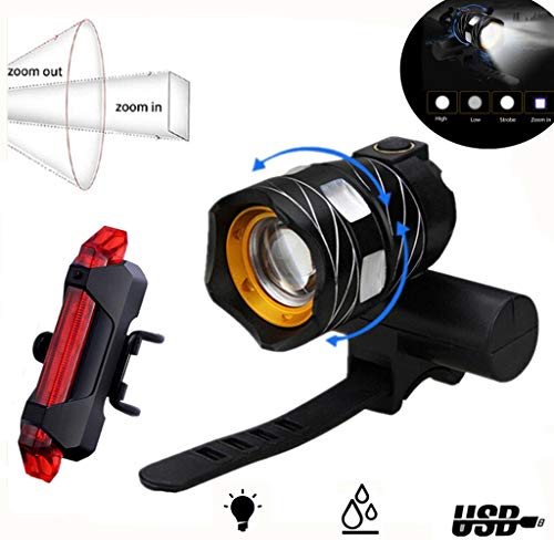 Abcty 2019 Version USB Rechargeable Bike Headlight Set - Powerful 1200 Lumens LED Bicycle Headlight & Tail Light - 4 Light Mode Fits All Bicycles, Road, Waterproof IPX4, Adjustable Focal Length(Black)