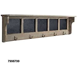 "36"" Rustic Brown Wooden Chalkboard Shelf With Hooks"