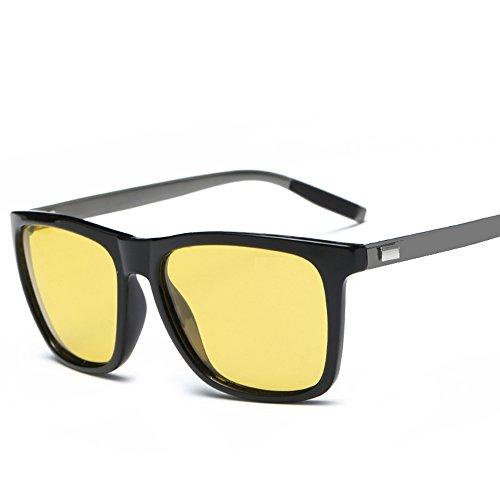 SZLINGKE Brand Designer Polarized Night Vision Women Men Square Sunglasses Fashion Unisex Square PC Aluminum Magnesium Leg Metal Sunglasses Drving Retro Classical EyeGlasses (Black & Night - Brands Best Glasses