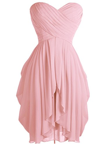 (FEESHOW Junior's Party Chiffon Dresses Strapless Sweetheart Lace Up Back Dresses Prom Homecoming Dresses Blush 8)