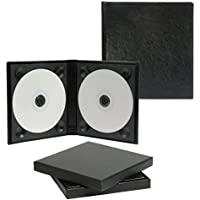 Classic Black Leather Double CD/DVD Holder - Holds 2 discs
