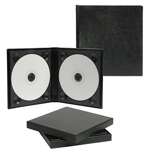 Neil Enterprises, Inc Classic Black Leather Double CD/DVD Holder - Holds 2 discs