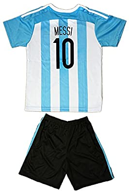 2015/2016 Argentina Kids #10 MESSI Soccer Jersey & Shorts Youth Sizes
