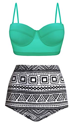 Swiland Women Tummy Control Bikinis High Waist Bathing Suits Retro Straps Underwired Top Mint,XL