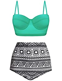 98515ba9260 Women Vintage Polka Dot High Waisted Bathing Suits Bikini Set