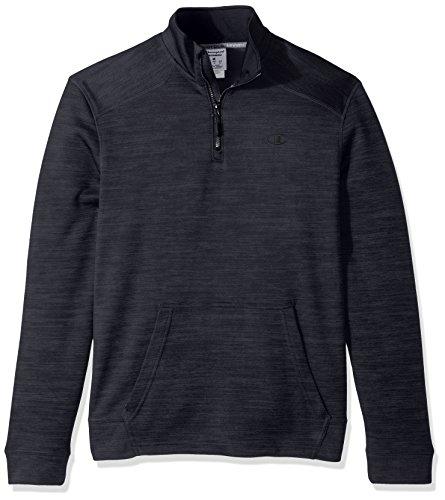 Champion Men's Premium Performance Fleece Quarter-Zip Pullover, Stealth Heather/Black, 2X-Large