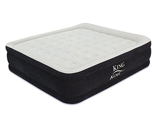 King Koil California King Luxury Raised Airbed with Built-in 120V AC High Capacity Internal Pump Comfort Quilt Top First Ever Cal King Air Mattress - True California King Size with 1-Year Guarantee