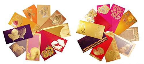 AVADOR Premium Shagun Gift Envelope (Pack of 20) Assorted Color Designs Money Holder Card Fancy Packet for Christmas Diwali Rakhi Easter Birthday Wedding Anniversary Designer Invitation Envelopes by Avador