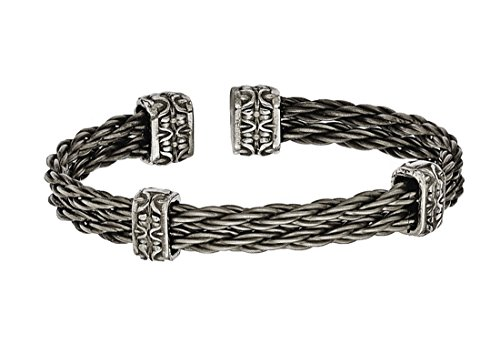 Men's Matte Grey 6/4 Titanium Double Cable Wire Cuff Bracelet, 7
