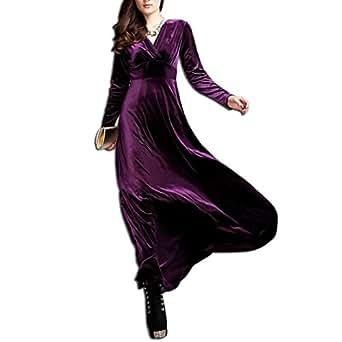 KAXIDY Elegante Mujer Terciopelo Vestidos V-Cuello