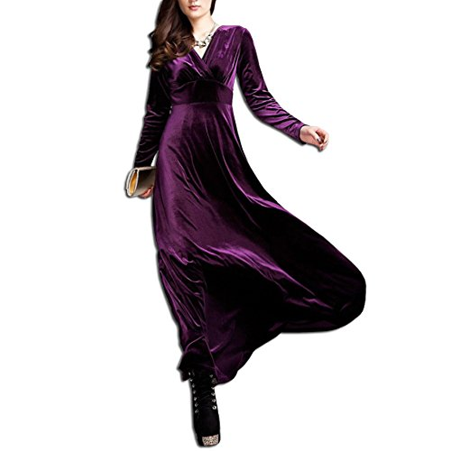 KAXIDY Elegante Mujer Terciopelo Vestidos V-Cuello Vestidos de Noche Vestidos de Cóctel Vestido Largo Morado