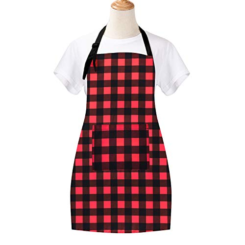 (Plaid Cooking Aprons with Pocket, Retro Simple Style with Grid Composition Kitchen Apron, Red and Black Plaid Waterproof Adjustable Baking Aprons for Women)