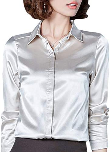 Women's Silk Blouse Long Sleeve Lady Shirt Casual Office Work Blouse Shirt Tops