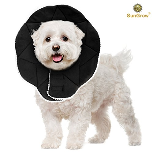 (Recovery Collar for Dogs --- Ultra Comfy post-surgery Cone - Prevents licking, scratching, or biting wounds - Soft, Comfortable, Adjustable Cone - Stylish, Black Collar with touch fastener Closures )