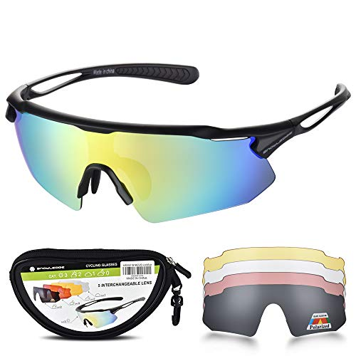 Sports Sunglasses Bike Cycling Sunglasses for Men Women with 5 Interchangeable Lens,Polarized Sunglasses with Anti-Uv400 for Driving Fishing Glof (Best Cheap Cycling Glasses)